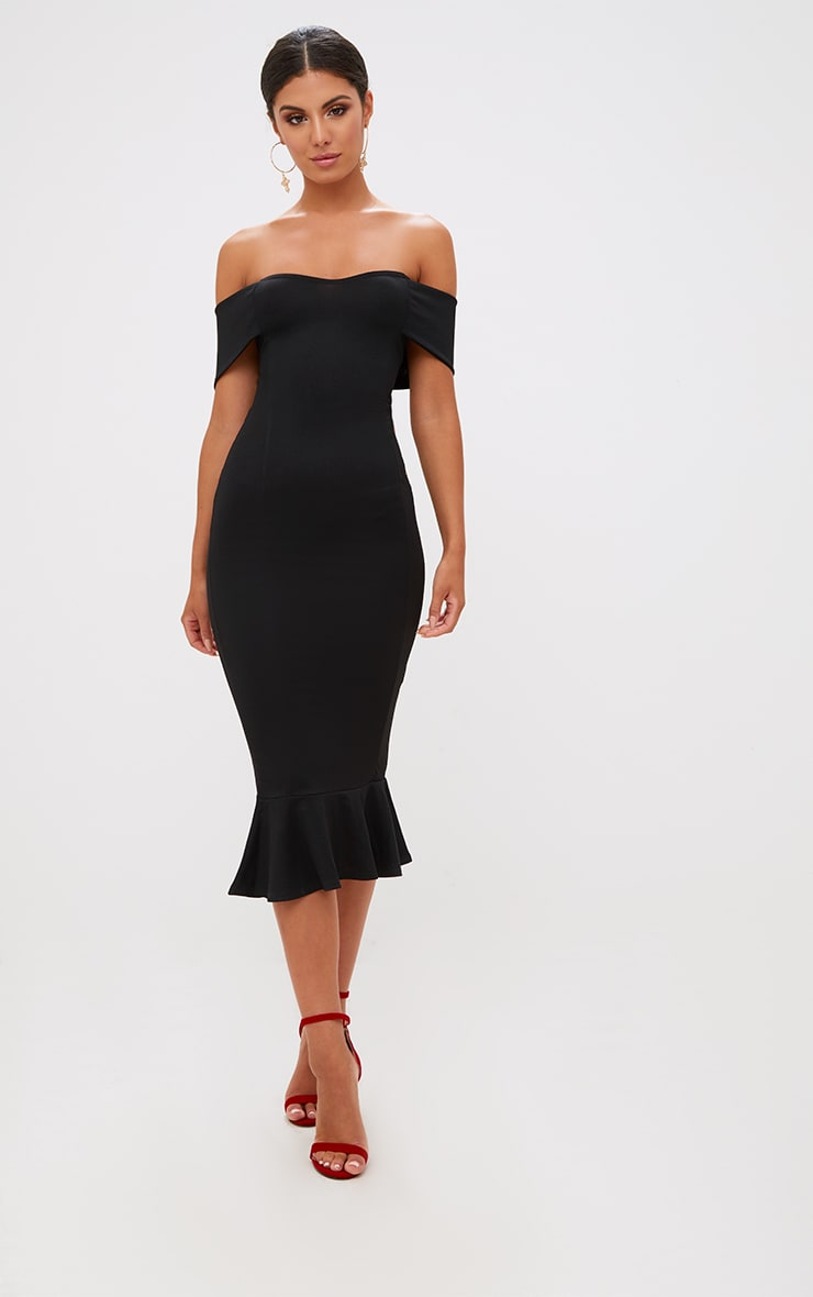 Black Bardot Frill Hem Midi Dress 4