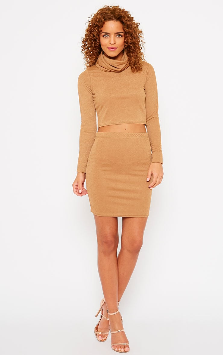 Emilia Camel Crepe Mini Skirt 1
