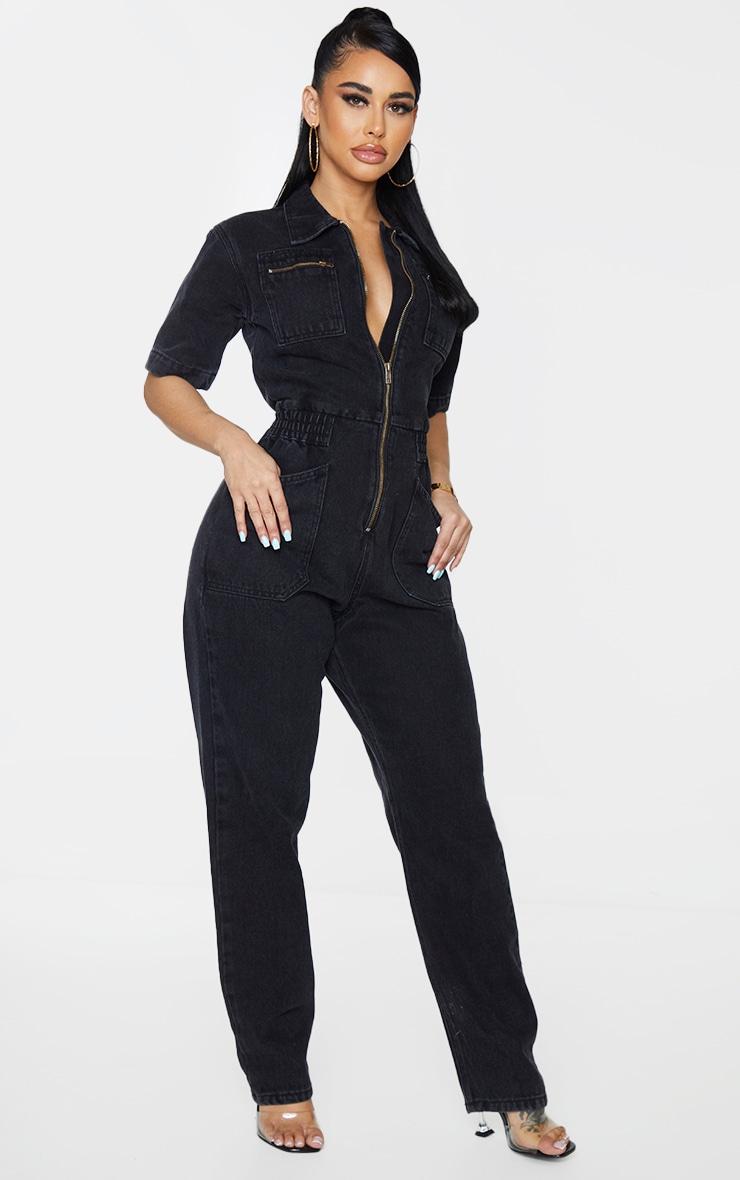 Shape - Combinaison en jean noir à manches courtes et poches 3