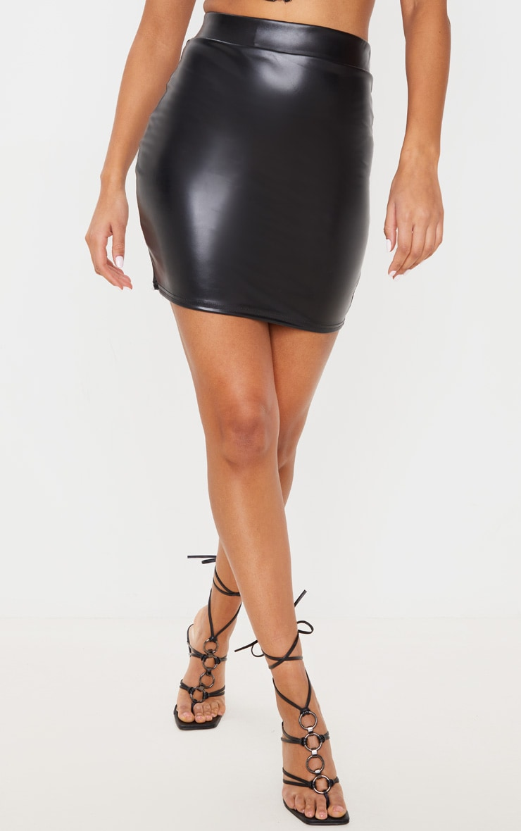 Black Basic Faux Leather Mini Skirt 2