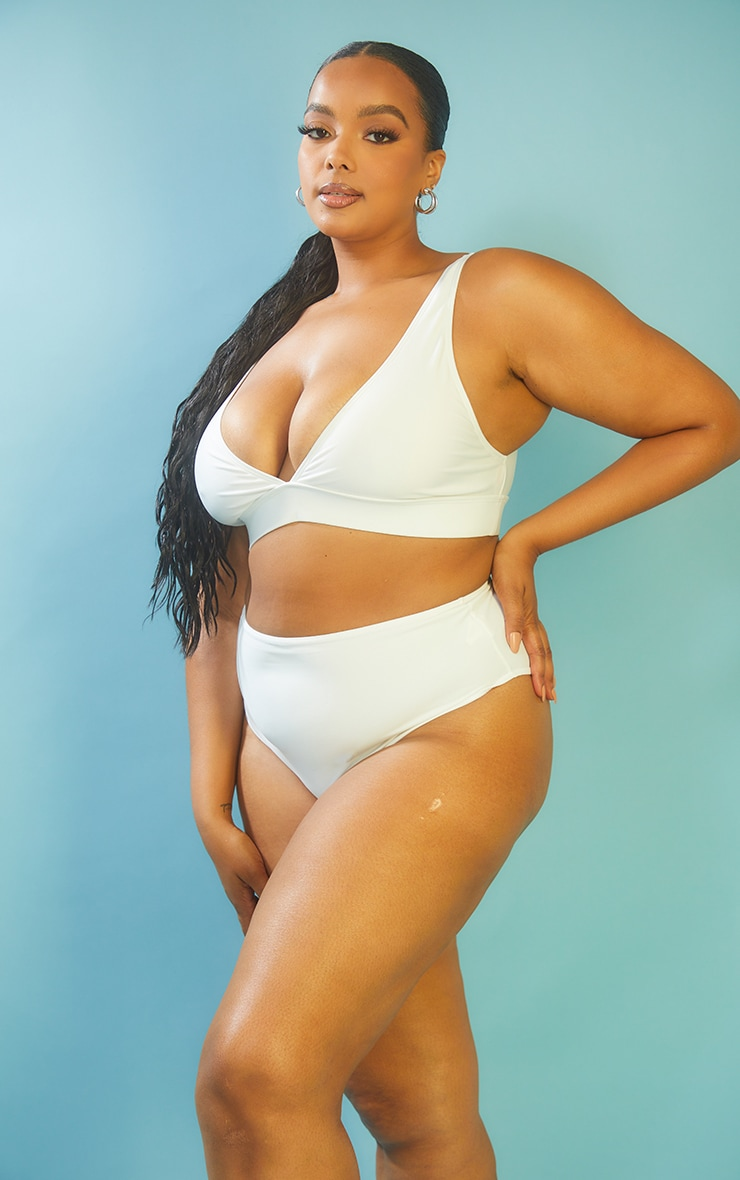 Plus White High Waist High Leg Bikini Bottom 2