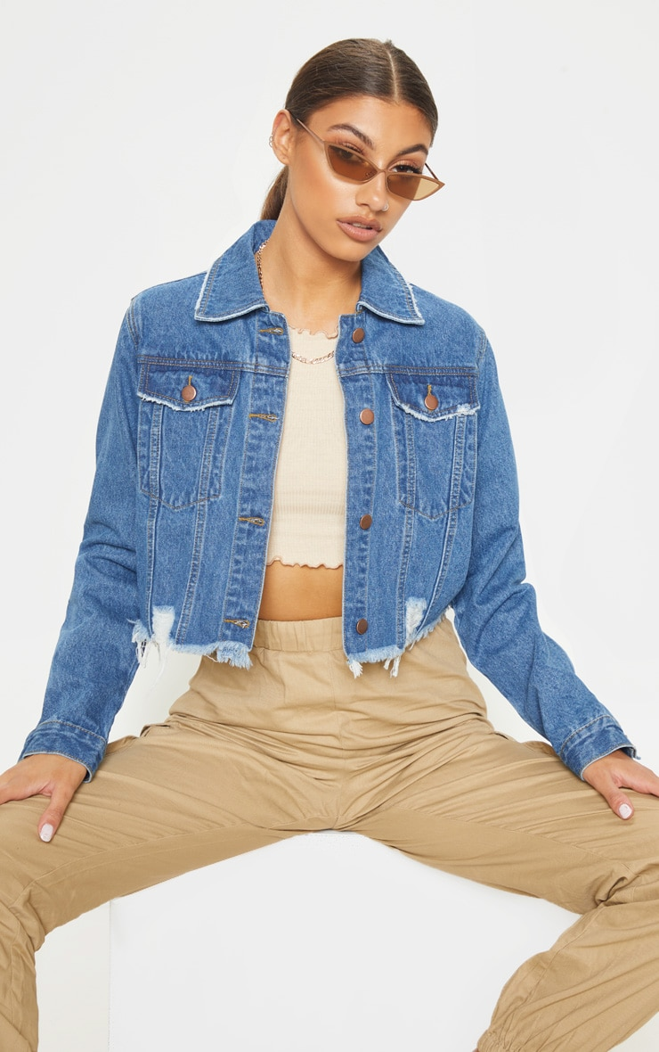 Tall Mid Wash Cropped Denim Jacket 1