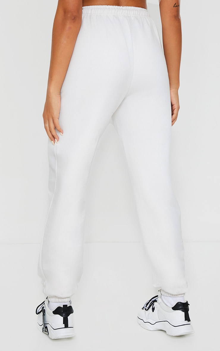 PRETTYLITTLETHING Ecru Badge Detail Casual Joggers 3