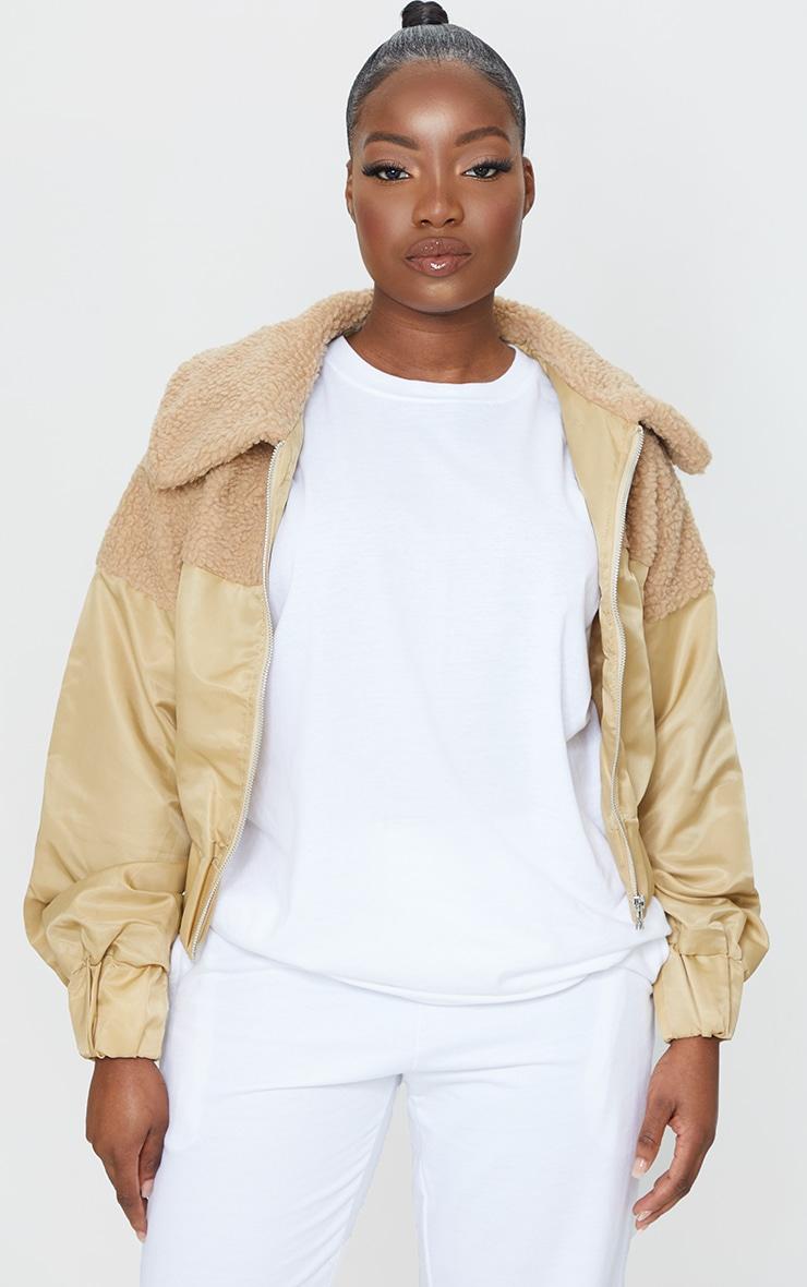 Petite Sand Borg Contrast Nylon Zip Through Jacket 3