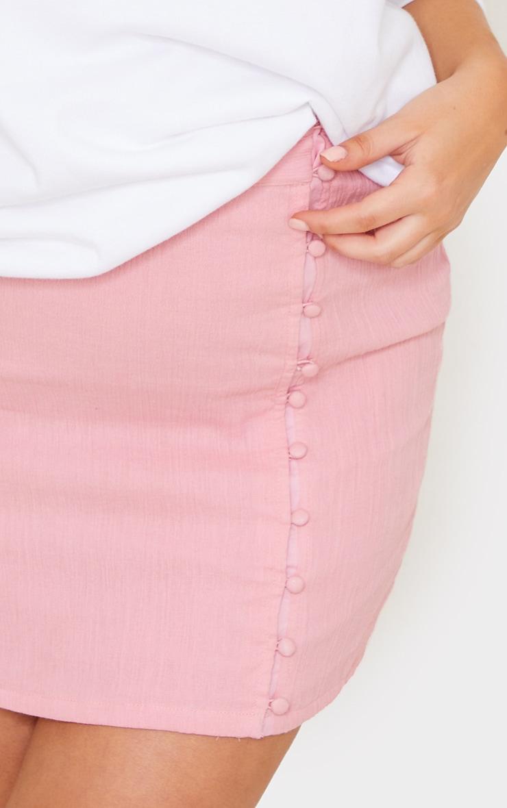Pink Textured Button Detail Mini Skirt 5