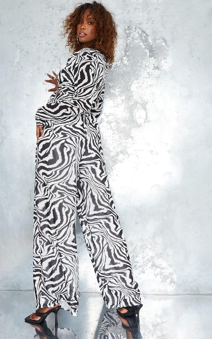 Monochrome Zebra Print Tie Bust Long Sleeve Jumpsuit 2