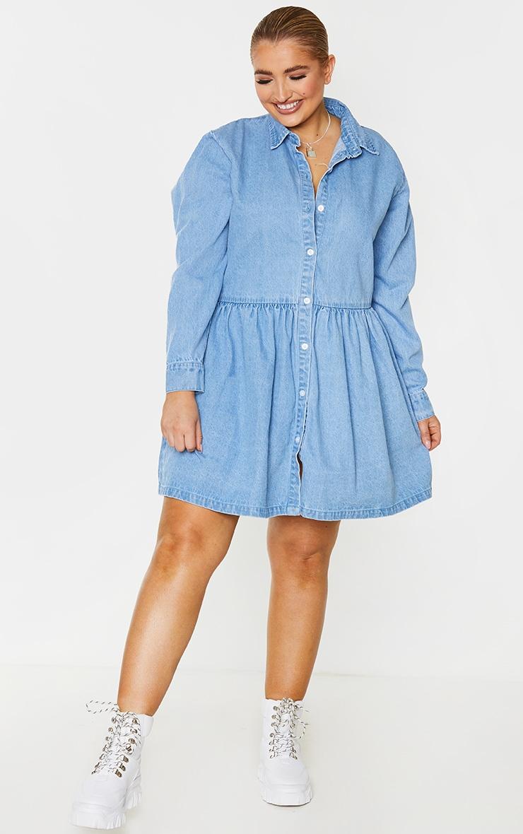 Plus Light Blue Wash Denim Frill Hem Shift Dress 3