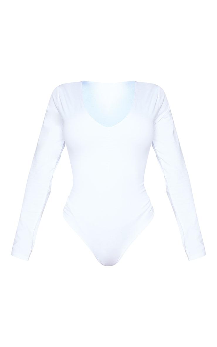 Basic Shape White Cotton Blend Jersey Ruched Long Sleeve Bodysuit 5
