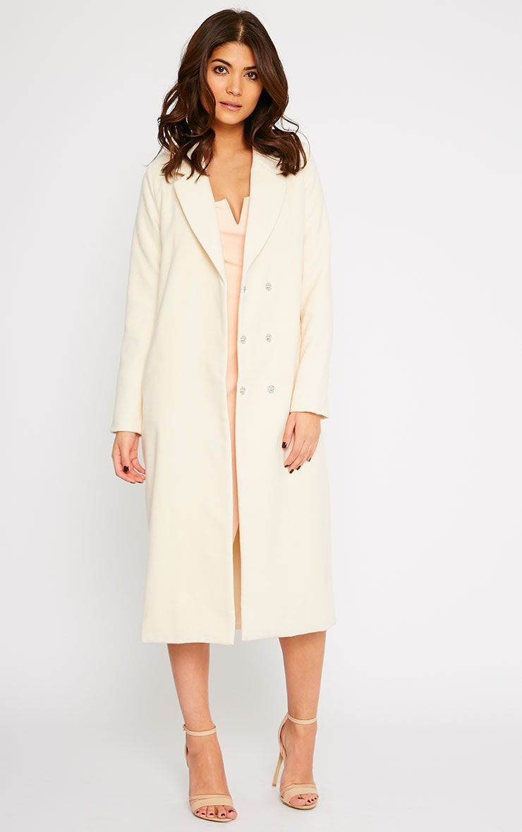 Salana Cream Longline Double Breasted Coat  3