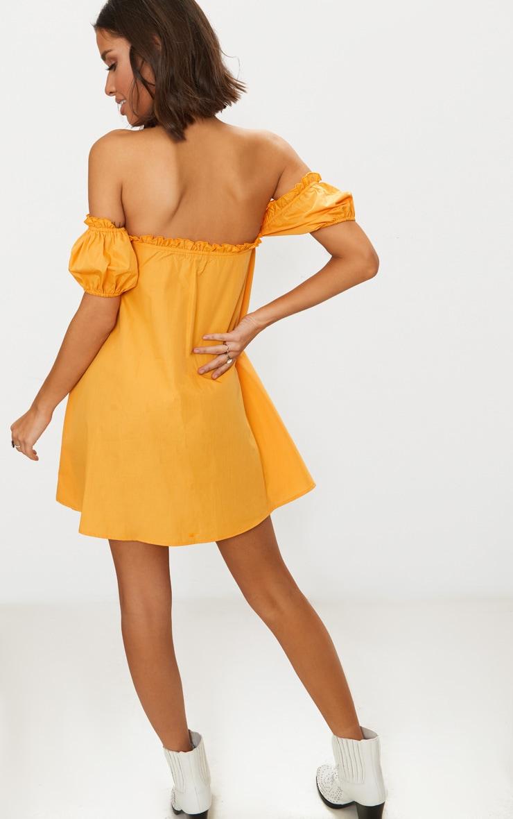 Mustard Frill Bust Bardot Shift  Dress 2