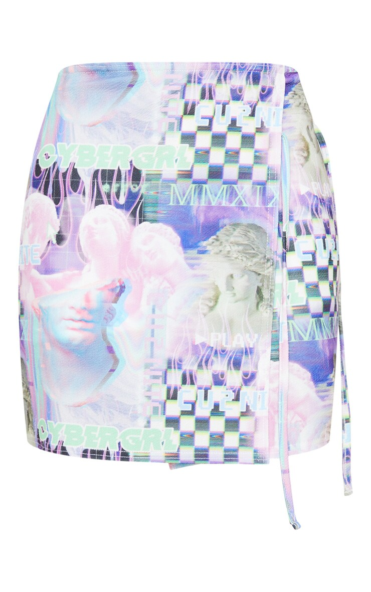 Lilac Cyber Statue Print Wrap A Line Skirt 6