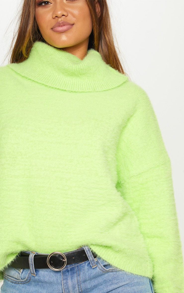 Neon Lime Roll Neck Fluffy Knit Sweater  5