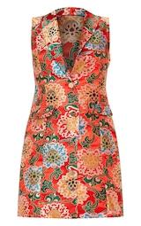 3acd10437ee Red Oriental Jacquard Sleeveless Blazer Dress image 3