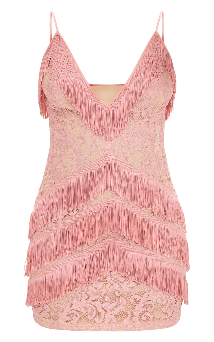 Dusty Pink Strappy Lace Tassel Detail Bodycon Dress 3