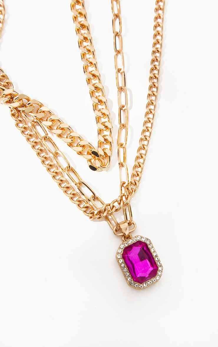 Gold Double Chain Pink Pendant Layering Necklace 3
