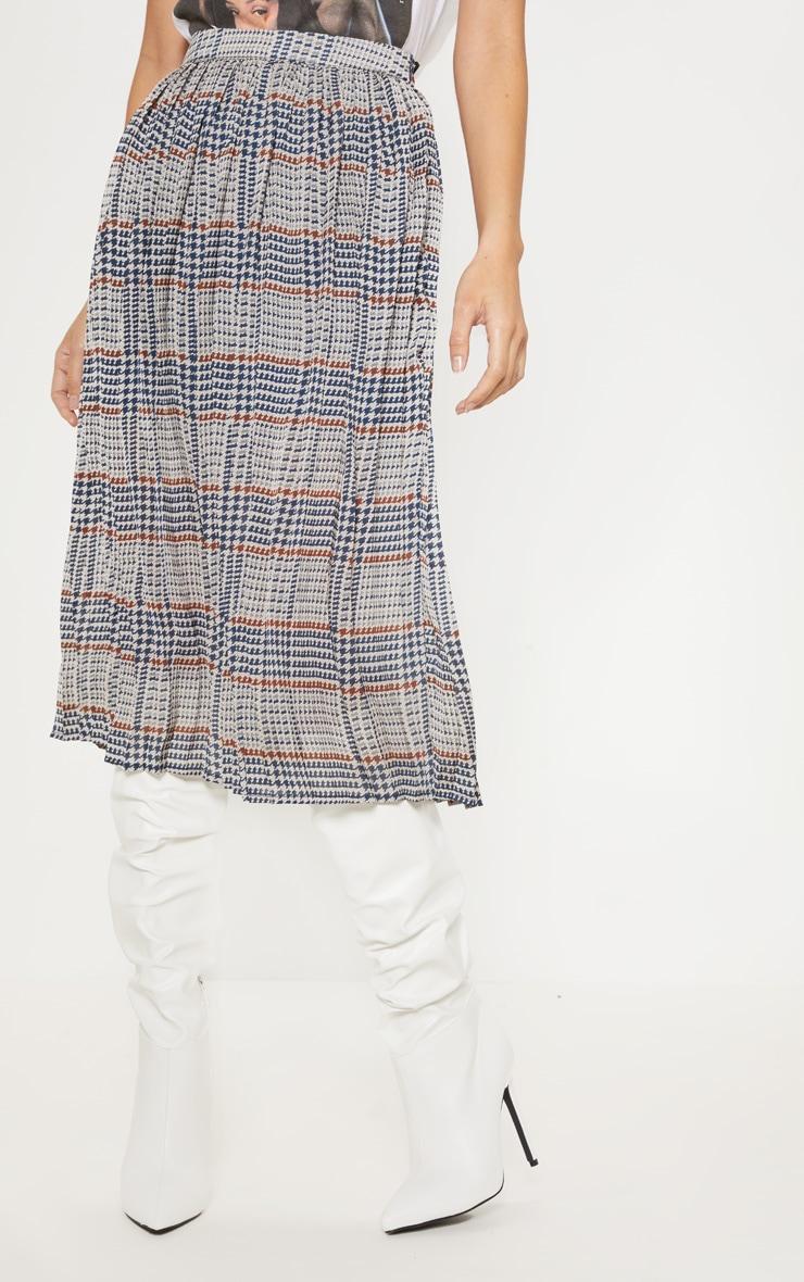 Brown Check Print Pleated Midi Skirt  2