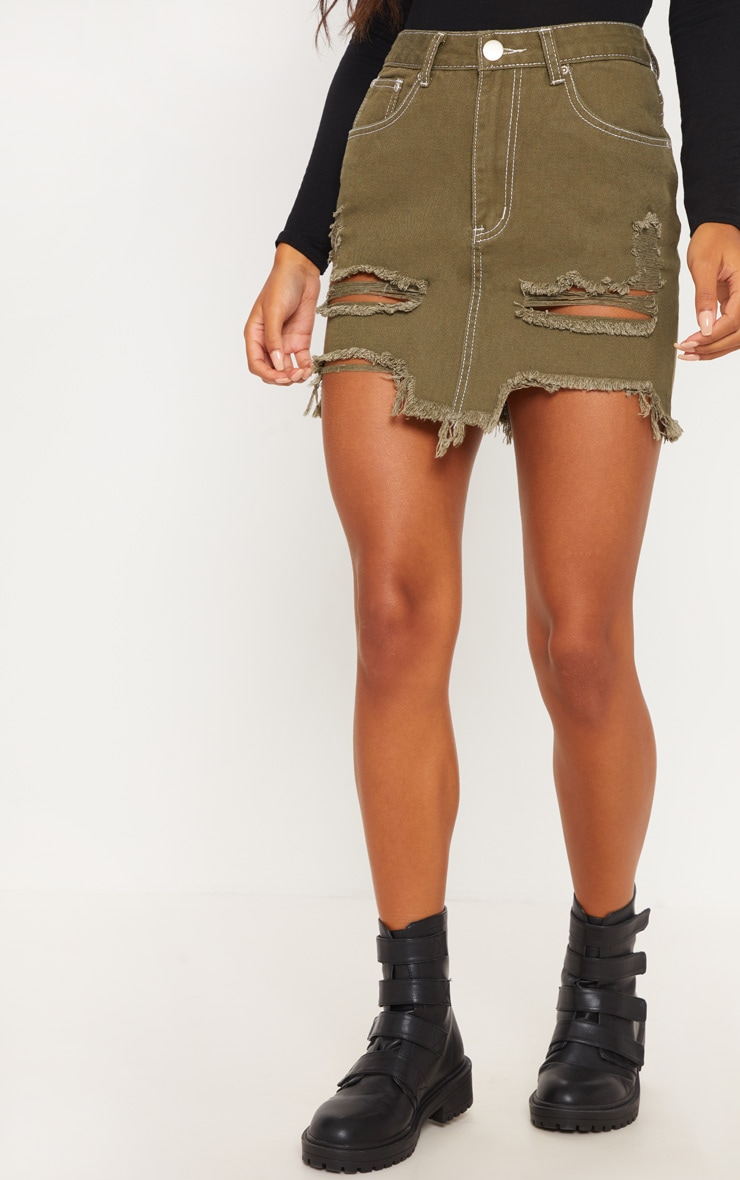 Khaki Contrast Stitch Distressed Denim Mini Skirt  2