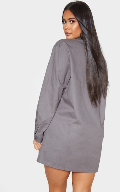 Charcoal Grey Corduroy Collar Detail Shirt Dress