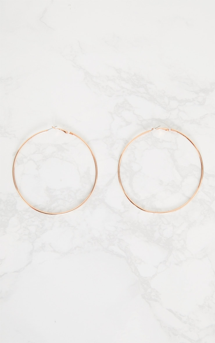 Rose Gold 80mm Large Hoop Earrings 3