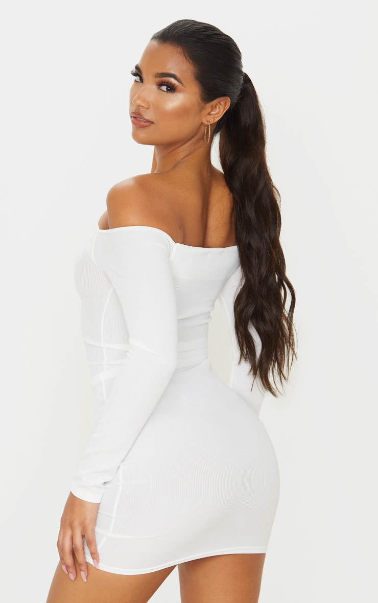 White Ribbed Long Sleeve Ruched Bodycon Dress 2