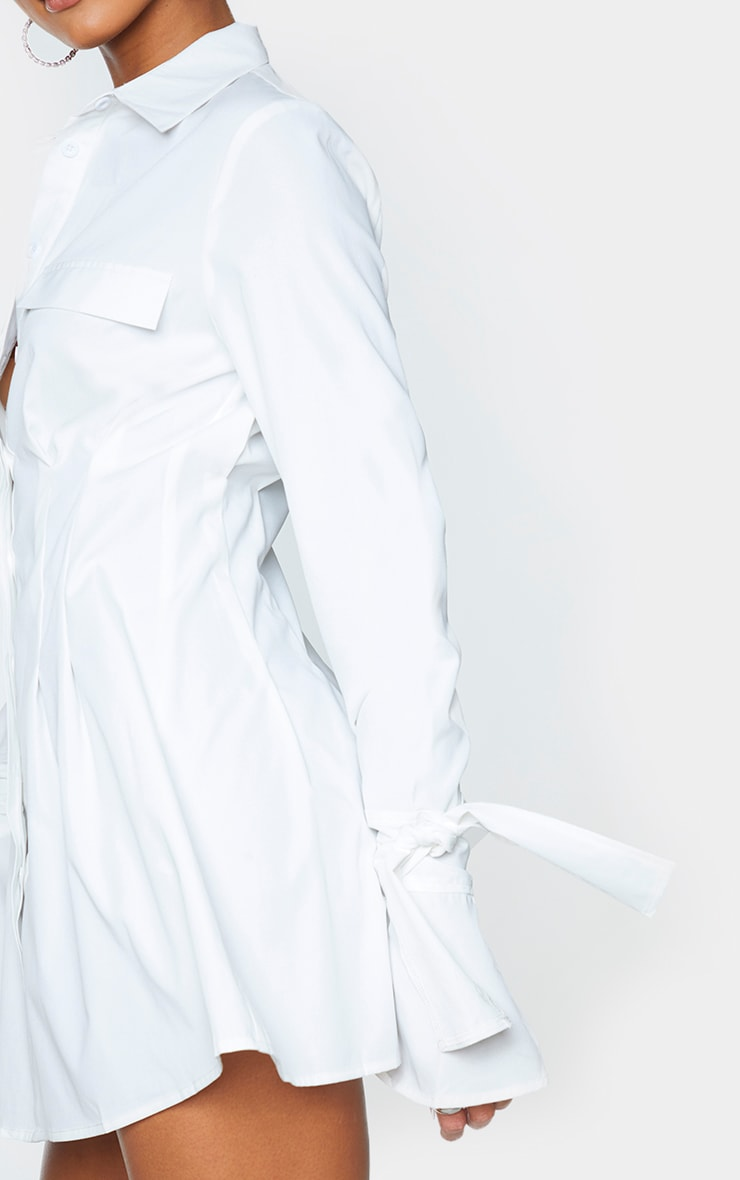 White Tie Cuff Detail Pleated Shirt Dress 4