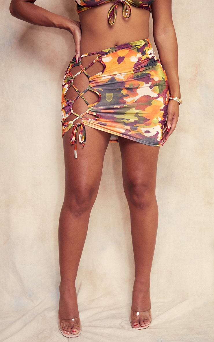 Shape Orange Camo Print Slinky Lace Up Side Bodycon Skirt 2