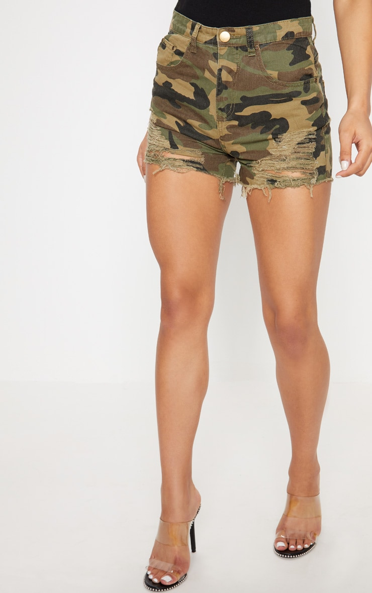 Jeanie Green Camo Extreme Ripped Denim Short 2
