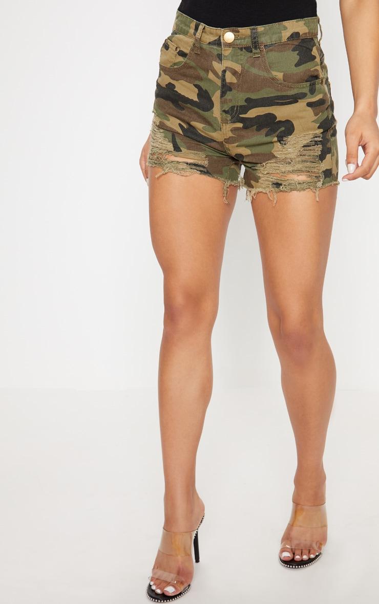 Short en jean imprimé camouflage vert très déchiré 2