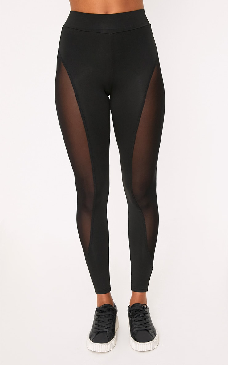Saskia Black Mesh Side Panel Leggings 2