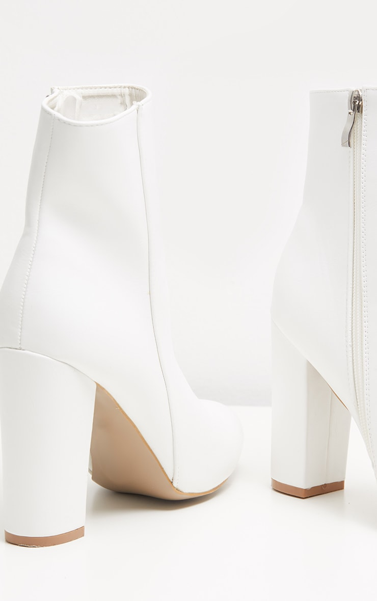 White Faux Leather Ankle Boot 4