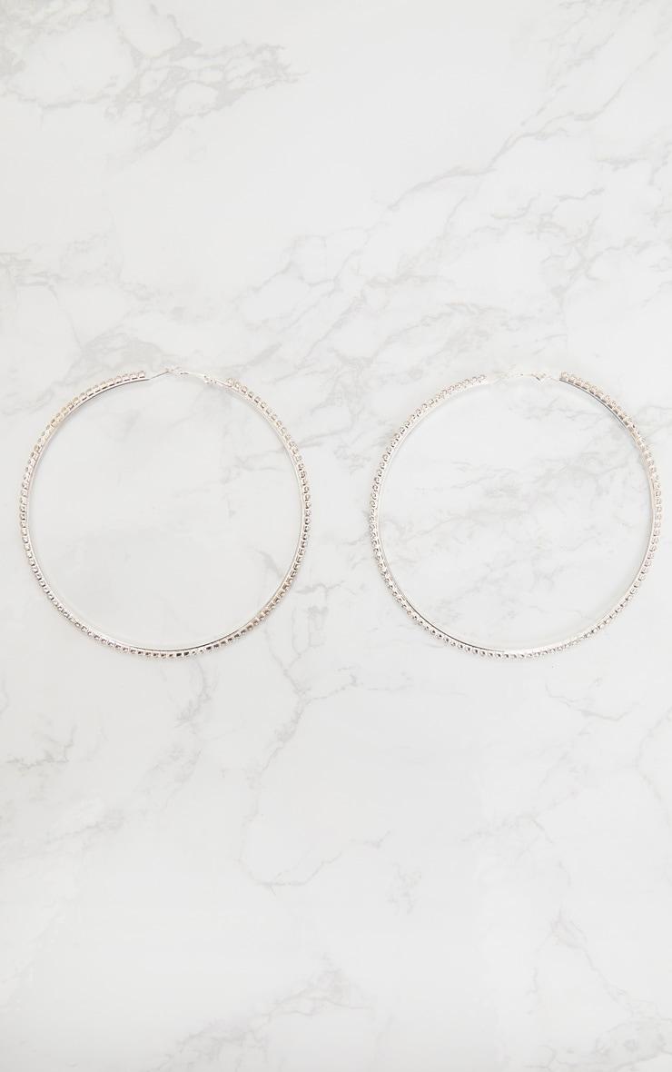 Silver Oversized Diamante Hoop Earrings 3