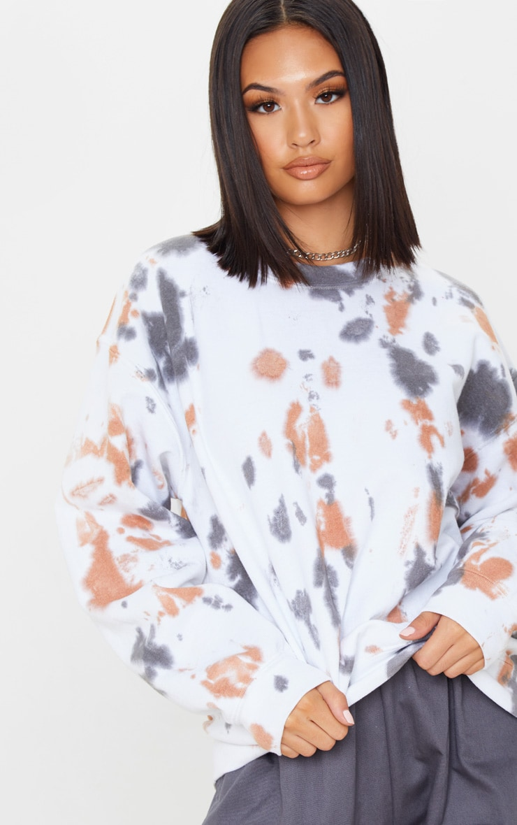 White Paint Effect Oversized Sweater 1