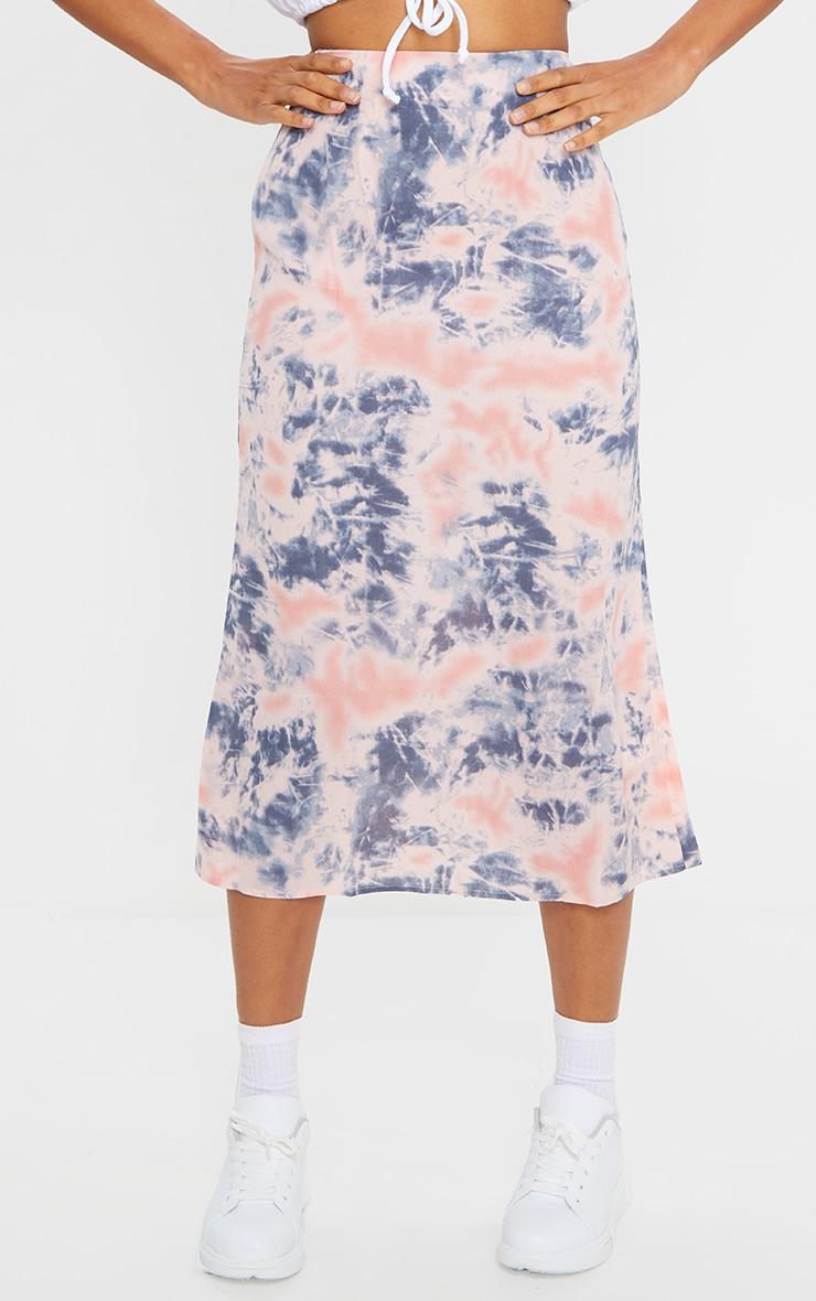 Pink Tie Dye Woven Midi Skirt 2