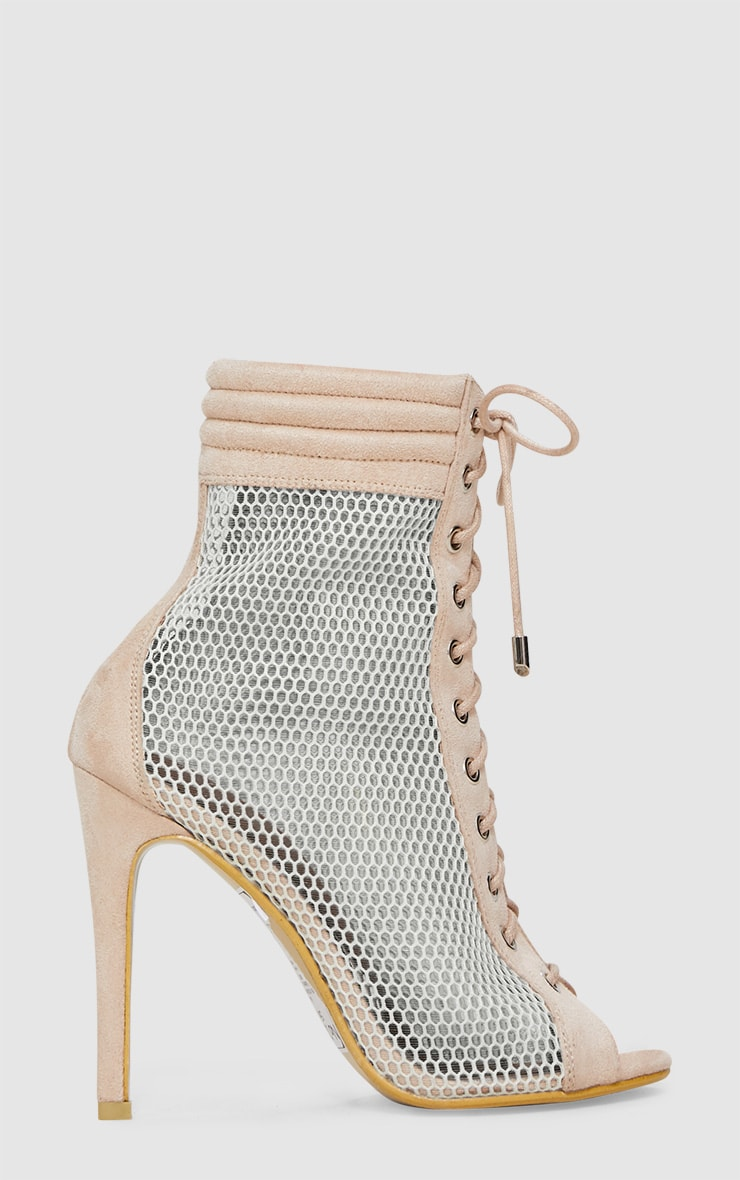 Beige Lace Up Mesh Peep Toe Boot 3