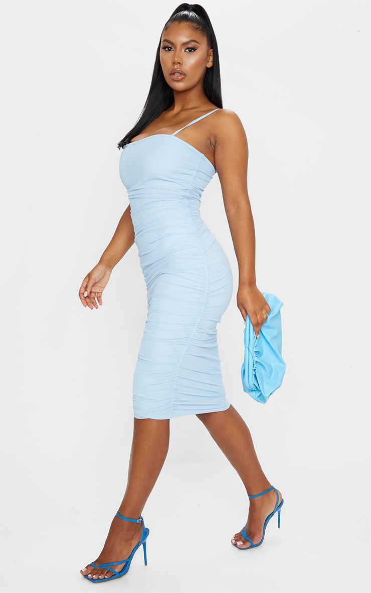 Baby Blue Strappy Mesh Midi Dress 3