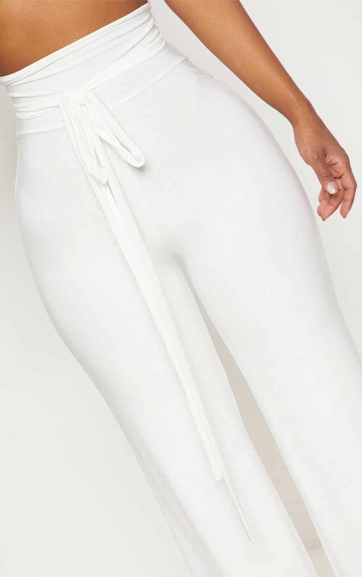 Shape White Slinky Extreme High Waist Detail Wide Leg Trousers 5
