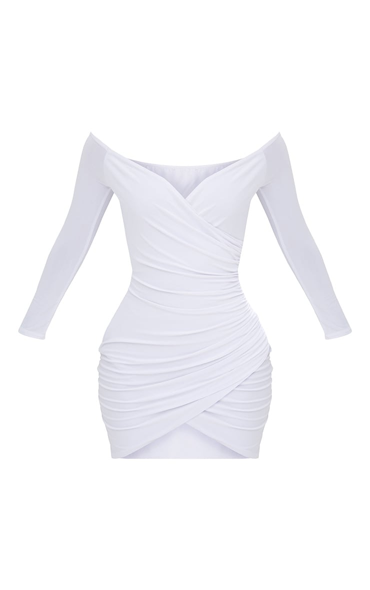Shape White Ruched Bardot Bodycon Dress 4