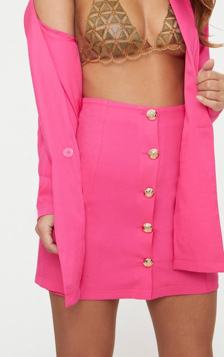 Petite Hot Pink Button Detail Mini Skirt 5