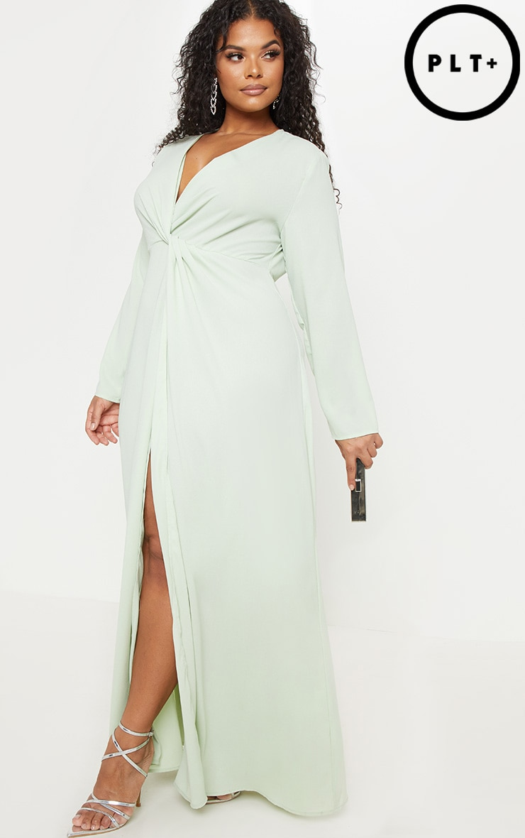 d268c52204d Plus Sage Green Twist Front Maxi Dress image 1