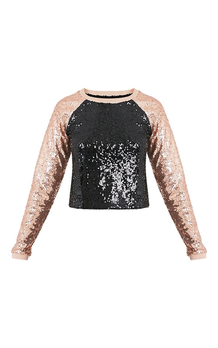 Charletta Black Sequin Colourblock Sweatshirt 3