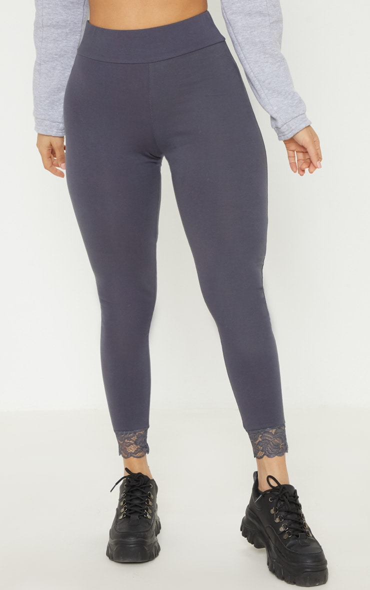 Grey Lace Trim Cotton Elastane Legging 2