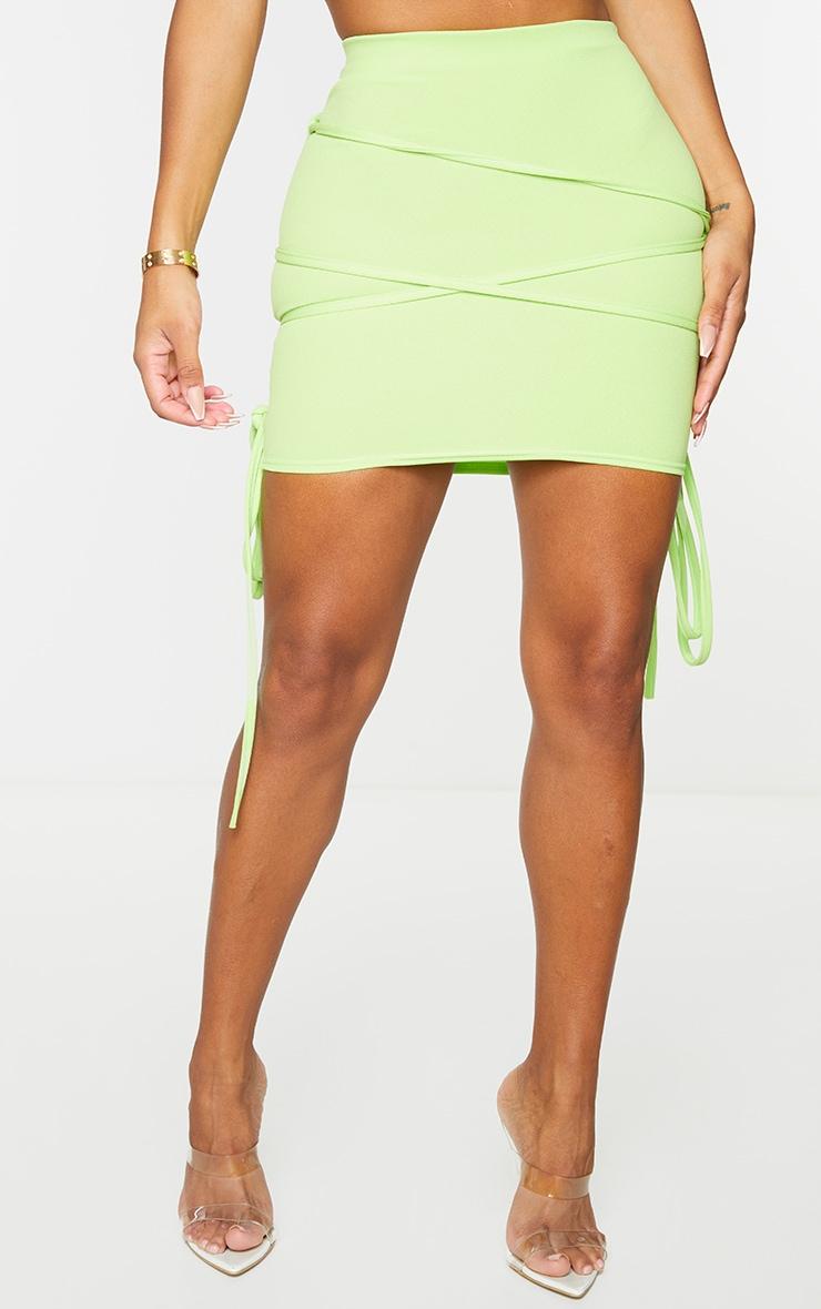 Shape Lime Extreme Tie Detail Wrap Bodycon Skirt 2