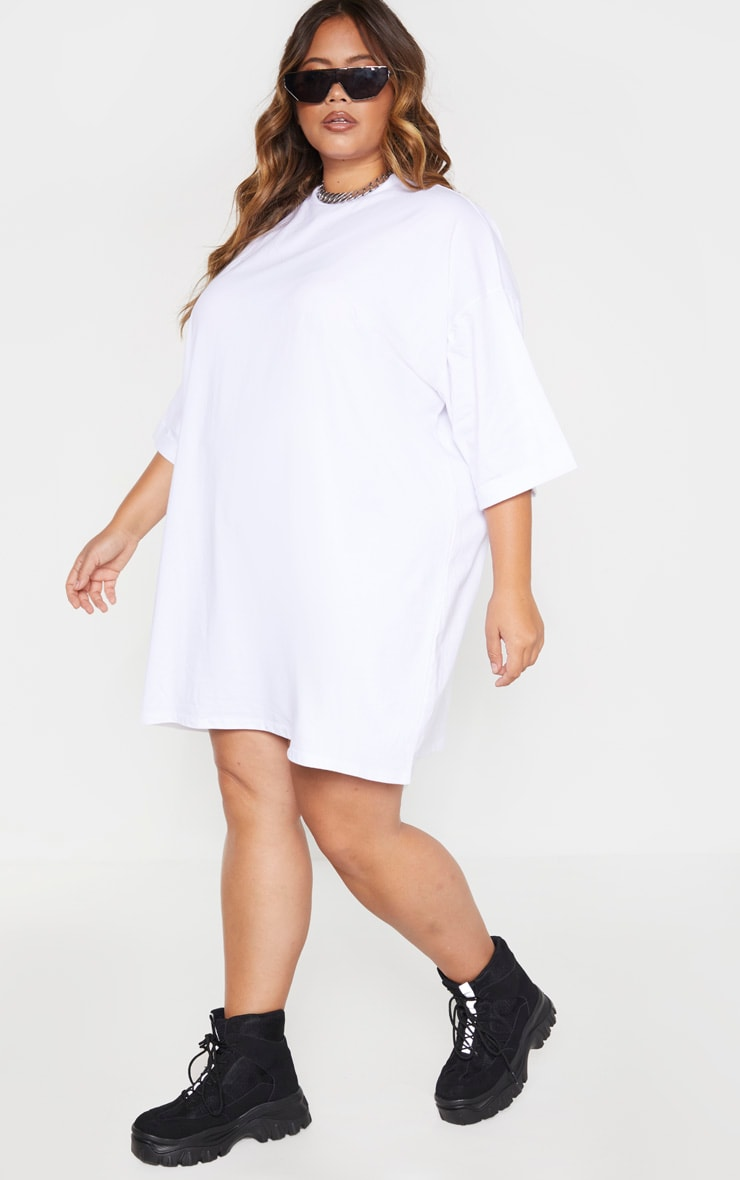 Plus White I See You Oversized Slogan T Shirt Dress 4