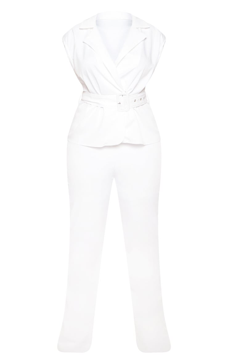 White Peplum Belt Detail Jumpsuit 4