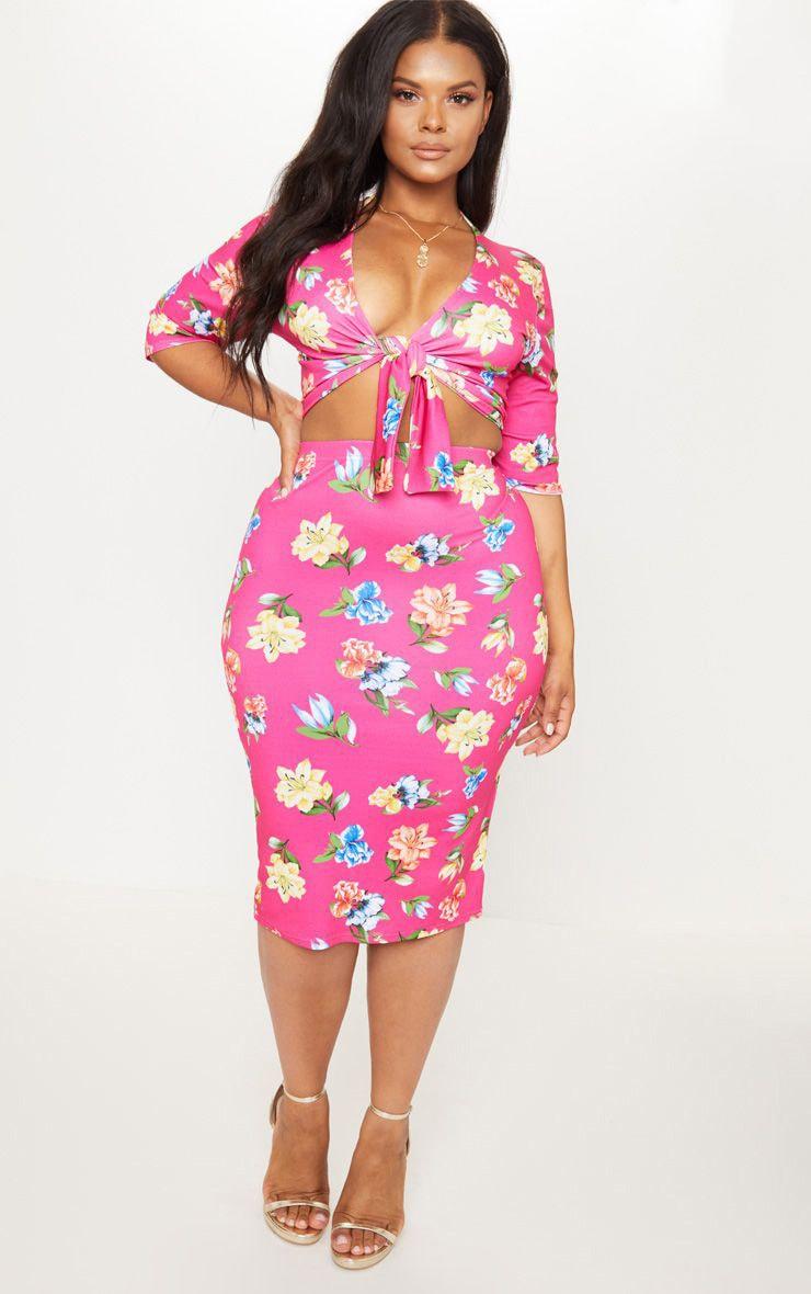 Plus Pink Floral Print Midi Skirt 1