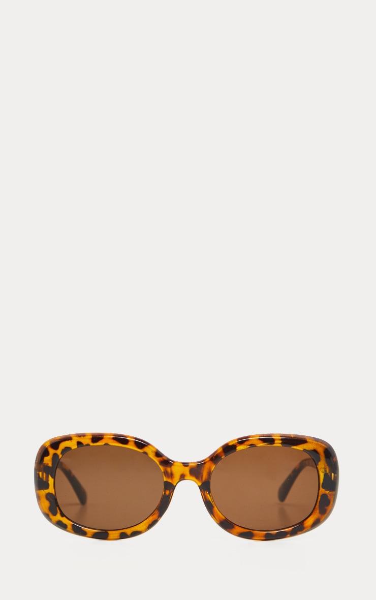 Brown Animal Print Retro Oval Sunglasses 3