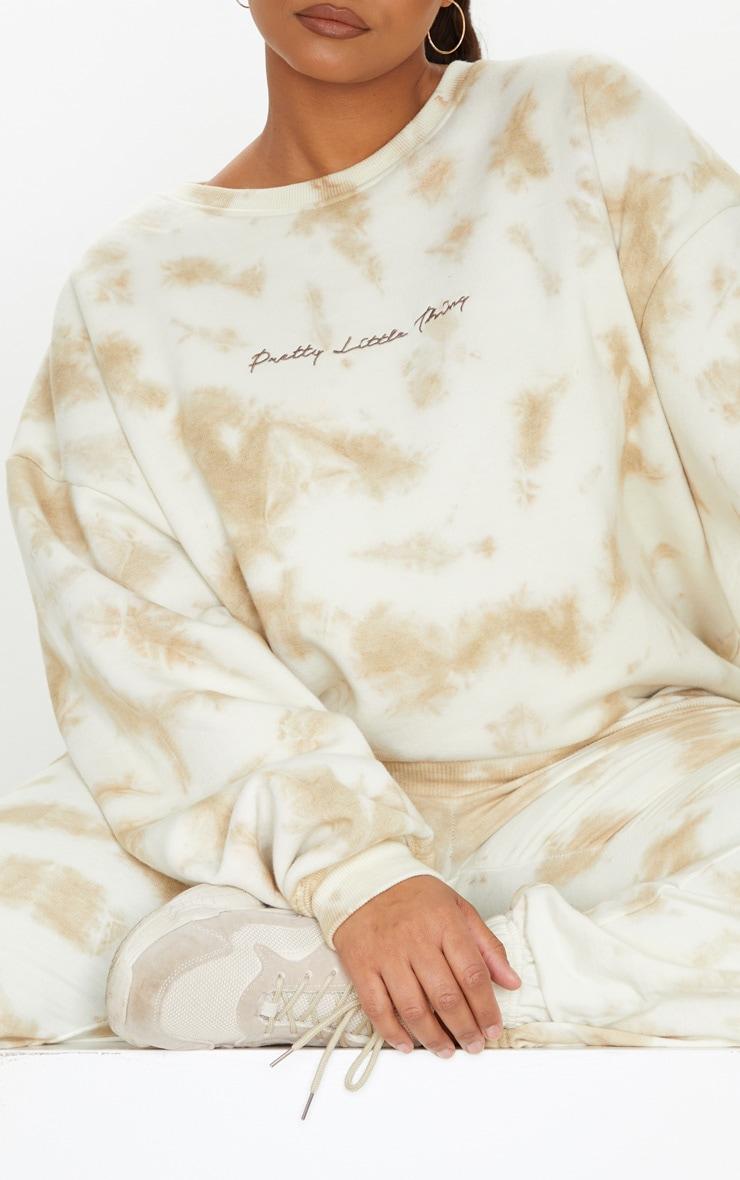 PRETTYLITTLETHING Plus Cream Tie Dye Embroidered Sweatshirt 4