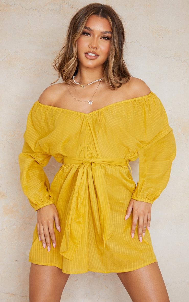 Yellow Woven Off The Shoulder Tie Waist Shift Dress 1