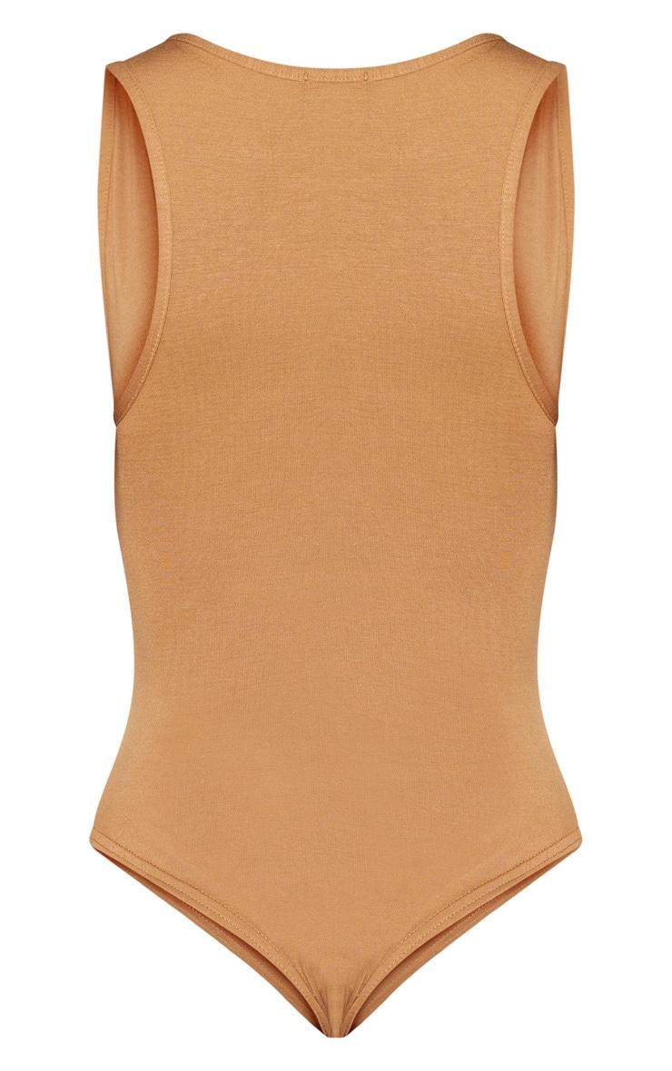 Basic Brown Jersey Plunge Neck Thong Bodysuit  4