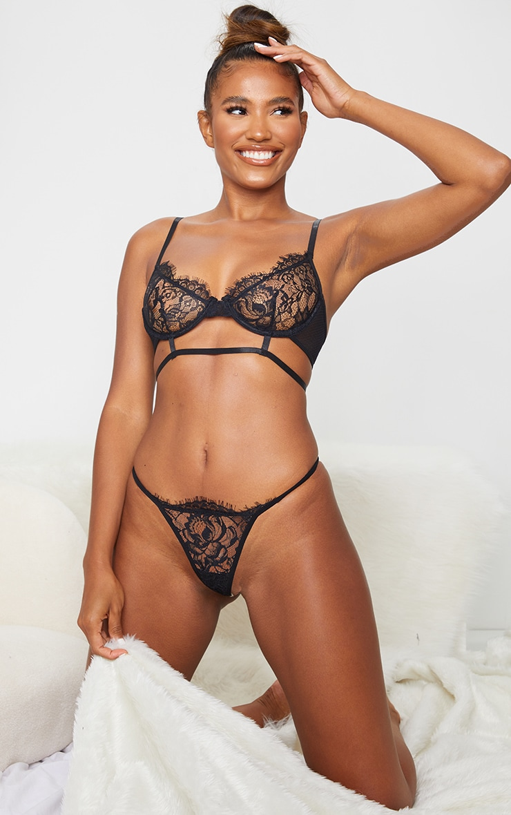 Black Delicate Lace Underwired Strappy Lingerie Set 3